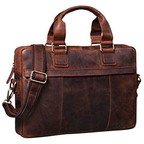 STILORD 'Andrew' Vintage Business Ledertasche Klassische Aktentasche für Herren und Damen 13,3 Zoll Laptoptasche für Arbeit Büro Aufsteckbar, Farbe:Zamora - braun