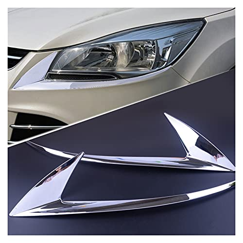 YBMY BELEER 2pcs / Set ABS Chrome Placcato Frontale Placcato Faro Faro Capola Light Lampada Eyelid Soprabrow Trim Fit per Ford Escape Kuga 2013-2016