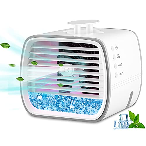 4 in 1 Portable Air Conditioner , Personal Space Evaporative Cooler , 3 Wind Speed Desktop Cooler Air Conditioner Fan, Personal Space Air Cooler for Home Office
