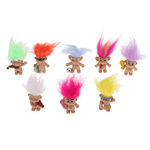 Tachiuwa 幸運トロール人形 ラッキートロール人形 フィギュア おもちゃ 家 机 ドールハウス 装飾 8個セット