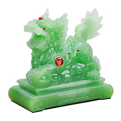 LXYZ Chino Feng Shui Qilin/Chi Lin Kylin Estatuas Resina Jade Piedra Decoración Accesorios Estatuilla, Oficina en casa y Decoración del Coche Regalo Riqueza Buena Suerte Escultura