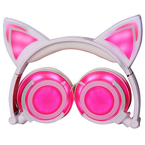子供の猫の耳ヘッドマウント発光イヤホンUSB充電折りたたみ式イヤーマフイヤホンLED懐中電灯付き,ピンク
