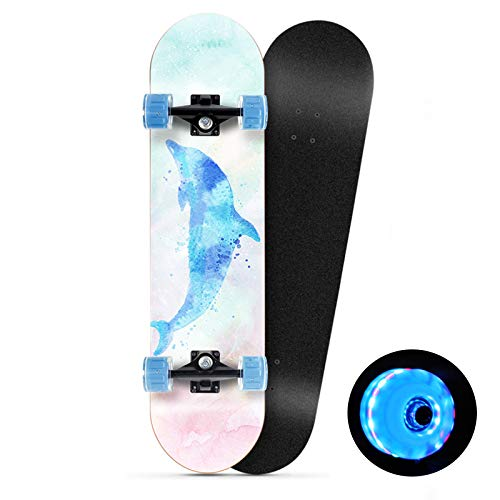 Klzzuk Complete Skateboard 31' Double Kick Concave 7 Layers Maple Deck Skateboard with PU LED Light up Wheels for Teens Adults Beginners Girls Boys Kids, With Complete Accessories (Dolphin)