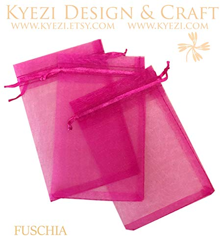 "150 pcs 2""x3"" Sheer Drawstring Organza Bags Jewelry Pouches Wedding Party Favor Gift Bags Gift Bags Candy Bags [Kyezi Design and Craft] (Fuchsia, 2x3 150 PC)"
