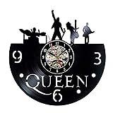 LKJHGU Disco de Vinilo Vintage Reloj de Pared Queen Rock Band 3D Tema de música decoración Reloj de Pared Arte Reloj de Pared Sala de Estar decoración del Dormitorio