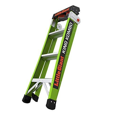 Little Giant Ladders, King Kombo, Professional, 4 Ft. A Frame, 6 Ft. Extension, Fiberglass, Type 1AA, 375 lbs weight rating, (13470-001)