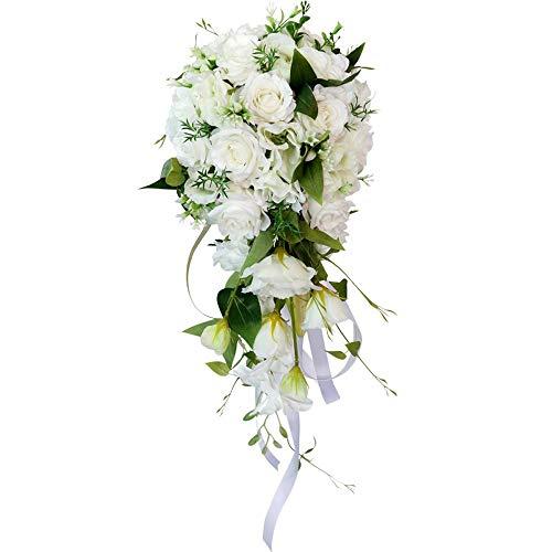 CHSXLL, bouquet da sposa, bouquet di rose artificiali, gocce d'acqua, cascata fai da te per matrimonio, centro sposa, foresta bianca verde, festa, feste, vacanze, bar, casa, cortile e giardino A