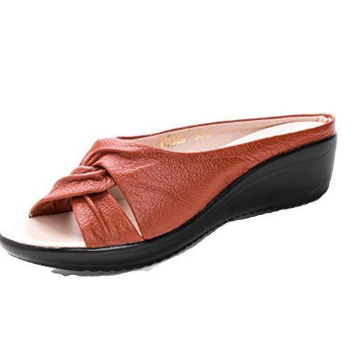 Las Mujeres Pantuflas Plataforma cómoda Peep Toe Media Envejecido Suave Damas Sandalias de Verano Zapatos