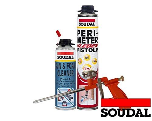 Soudal Kombi Set 1 x Perimeterkleber 750ml Dose + 1 x Soudal PU- Reiniger 500ml Dose + Schaumpistole Compact