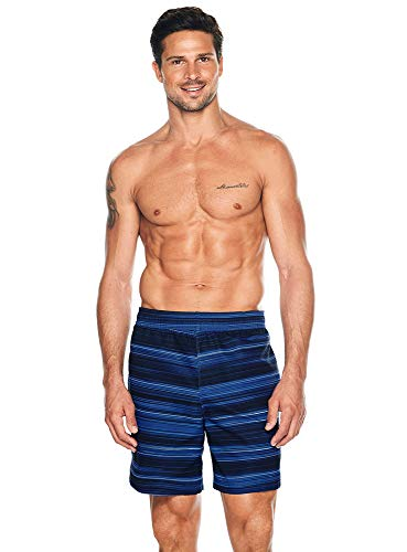 Reebok Herren Bademode 22,9 cm Volley Horizon Mikrofaser UPF 50+ Athletic Badeshorts Badeanzug Trunks - Blau - Small