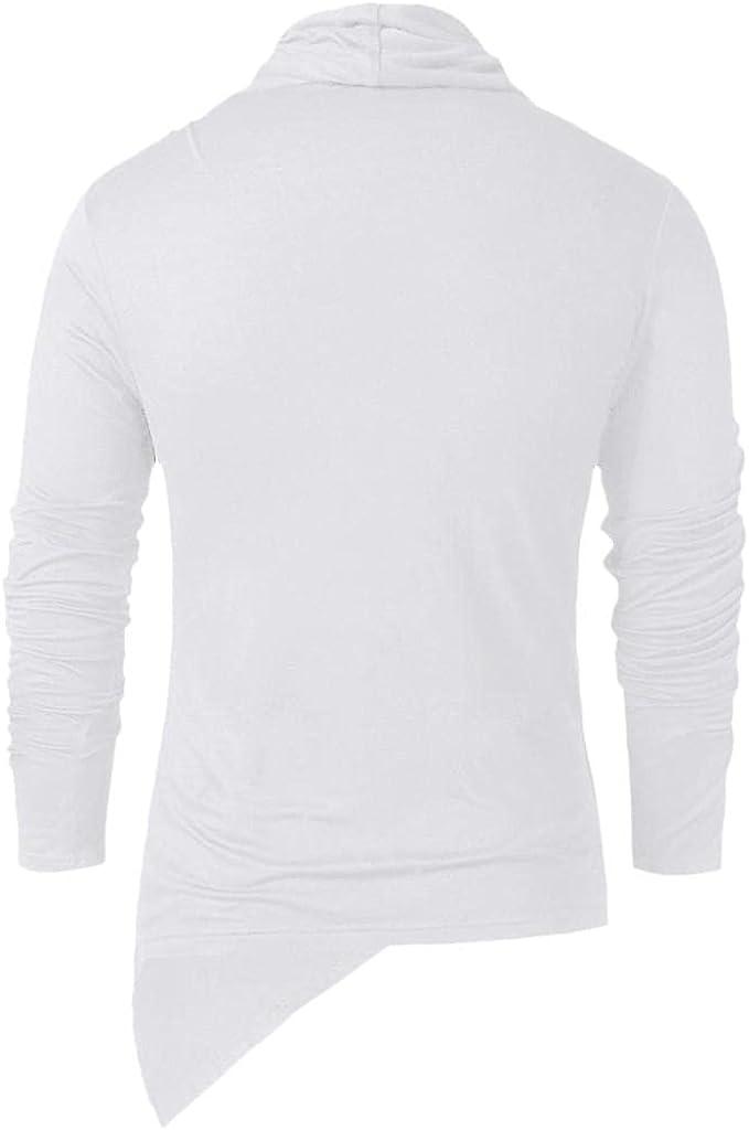 Mens Shirts Gothic, Men's Vintage Gothic Steampunk Cowl Neck Sweatshirt Asymmetric Hem Long Sleeve Pullover Hooded Tees