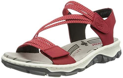 Rieker Damen 68871 Sandale, rot / 33, 39 EU