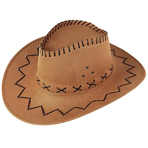 Mingfa Unisex Erwachsene Cowboyhut Mongolische Hut Fasching Zubehör Hut Grasland Sonnenschutz breite Kappe Gr. Einheitsgröße, gelb