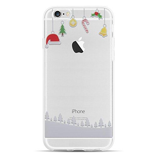 JammyLizarD Xmas Hülle für Apple iPhone 6/6s | Transparente Schutzhülle Gel Weihnachts-Sketch Back Cover Hülle aus Silikon, Hängende Dekoration