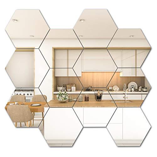 Ulable adesivi da parete a forma di esagono per piastrelle a specchio in acrilico 3D, decorazione da parete per casa, soggiorno, camera da letto (10 x 8,6 x 5 cm)
