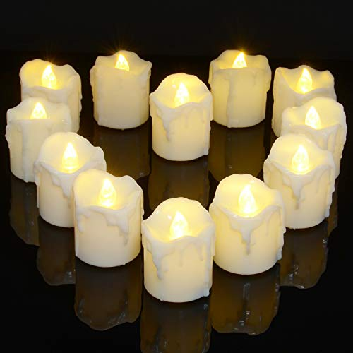 Battery Operated Tea Lights with Timer, PChero 12pcs Warm White LED Timed Flameless Candles Flickering, 6Hours On Per 24Hours Cycle, Ideal for Thanksgiving Christmas Wedding Home Decor