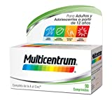 Multicentrum Complemento Alimenticio Multivitaminas con 13 Vitaminas y 11 Minerales, Sin Gluten, para Adultos y Adolescentes a Partir de 12 Años, 90 Comprimidos