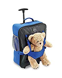blue Cabin Max child's bag with fluffy teddy on front