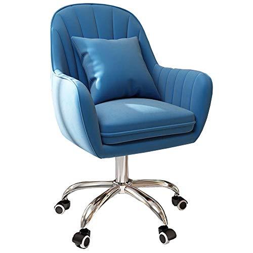 Silla de tocador de terciopelo con brazos, silla ergonómica de oficina con altura ajustable, cómoda silla giratoria para dormitorio, aparador, sala de estar, color azul