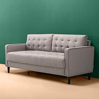 ZINUS Benton Sofa Couch / Grid Tufted Cushions / Easy Tool-Free Assembly Stone Grey