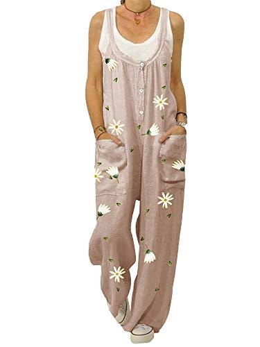 ORANDESIGN Damen-Latzhose aus Leinen, lockere Passform, Haremshose, Casual Vintage Jumpsuit, große Größe, Sommerlatzhose Gr. 38, F: Rosa.