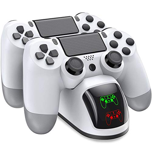 PS4 Controller Charger, BEBONCOOL PS4 Charging Station for Playstation 4/ PS4/ Slim/ PS4 Pro, Playstation 4 Controller Charger with Dual Controller Dock,PS4 Charger Stand for Wireless Controller-White