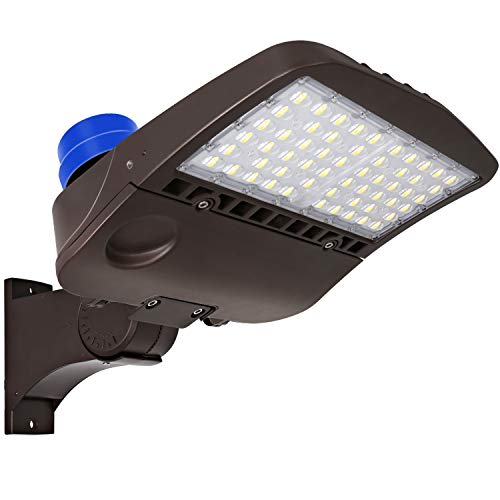 Hykolity 200W LED Parking Lot Light with Photocell, 26000lm Commercial LED Area Lighting, Waterproof Pole Mounted Shoebox Light, 5000K [400w Equivalent] Arm Mount DLC Complied