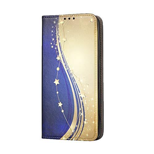 Funda para Xiaomi Mi Note 10 / Pro funda de teléfono móvil diseño 1528 estrellas abstractas azul dorado Premium Smart de piel sintética estampada por un lado para Xiaomi Mi Note 10 / Pro Funda
