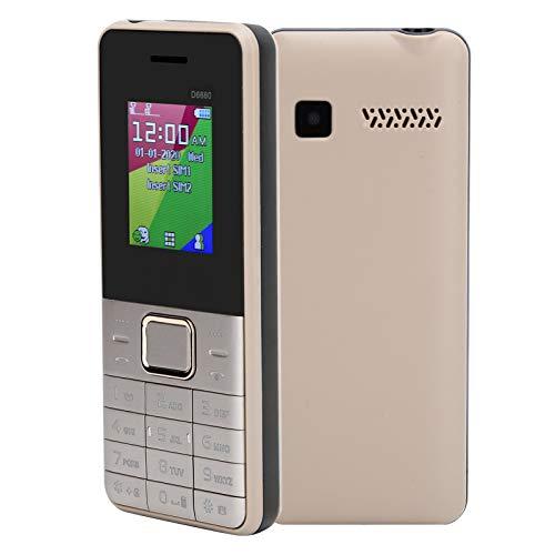 gostcai Teléfono móvil de 1,8 Pulgadas, teléfono móvil con Pantalla LCD, teléfono con Doble Modo de Espera, teléfono móvil Big Key Senior, Compatible con Blutooth, 32 MB + 32 MB(Oro)