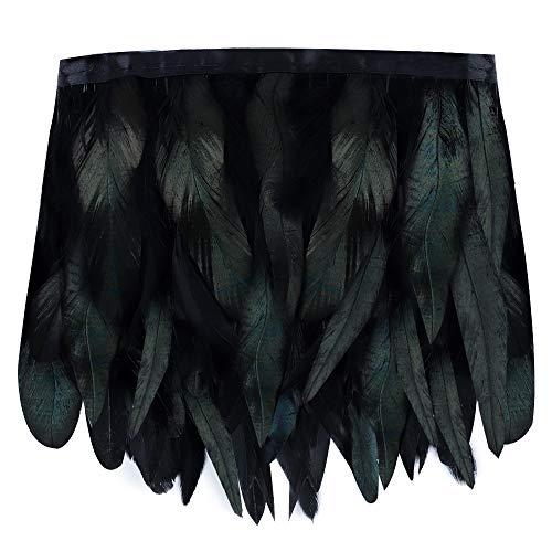 BAKHK 2m Schwarz Grüne Federn Kragen zum Basteln Natürliche Federn Cape Schal Stoffstreifen für Karneval, Halloween, Bekleidung, Kostüme, Party