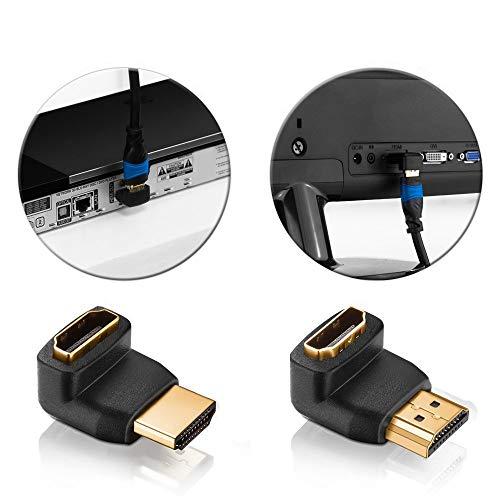 deleyCON HDMI Set - 2X HDMI Winkel Adapter (90° + 270° Grad) + 3X Klett-Kabelbinder + Microfaser Reinigungstuch