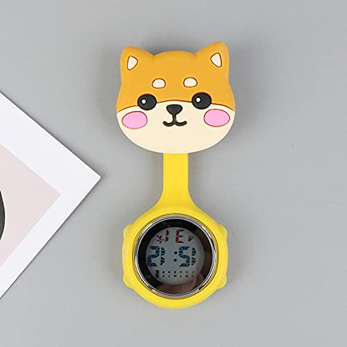 LLRR Relojes Bolsillo Médico,Pecho Impermeable de Prueba de Silicona Nocturna, Mesa Digital electrónica-224,médico Reloj de Bolsillo de Cuarzo