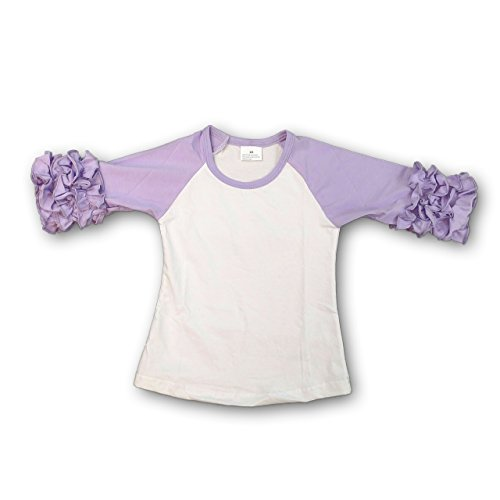 the Hair Bow COMPANY Girls Ruffle Raglan (Icing Raglan Shirts for Toddlers and Girls 6y Lavender)