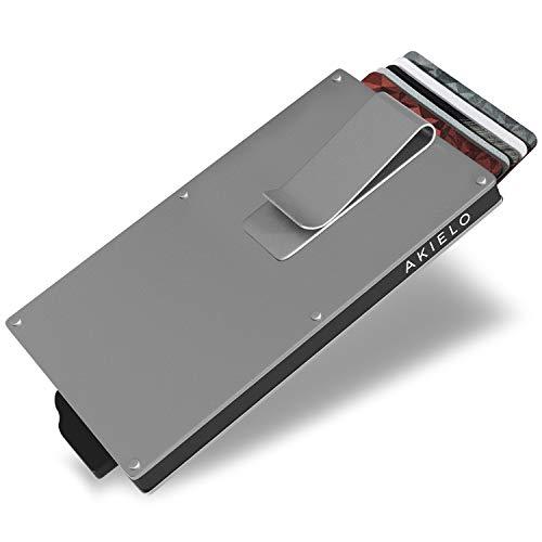 AKIELO Porta Carte di Credito con Blocco RFID con Ferma soldi in Confezione Regalo – Portafoglio Uomo Slim – Porta Tessere Uomo dal Design Minimalista (Collezione Alpha)
