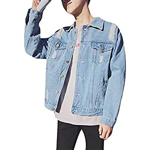 Men's Button Pocket Basic Style Washed Baggy Ripped Denim Jean Coat