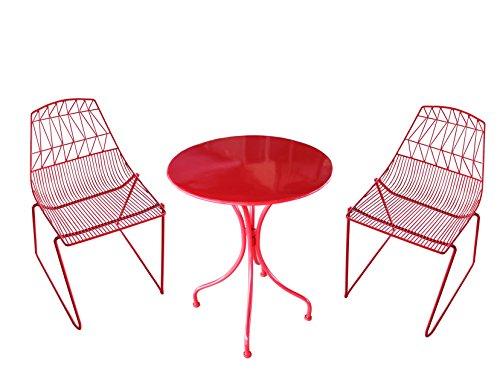 MaisonOutlet Set 2 Sedie con Tavolino Rotondo in Ferro zincato Colore Rosso - ARREDO da Giardino in Ferro MIGLIOR Prezzo