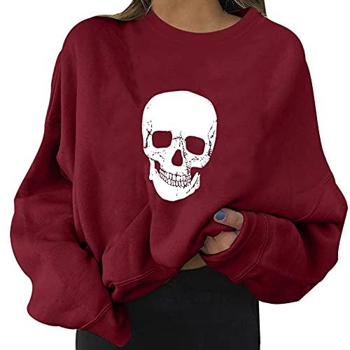 NHNKB Sudadera de Halloween para mujer, de forro polar, para otoño e invierno, gruesa, para disfraz de Halloween, A rojo vino., S