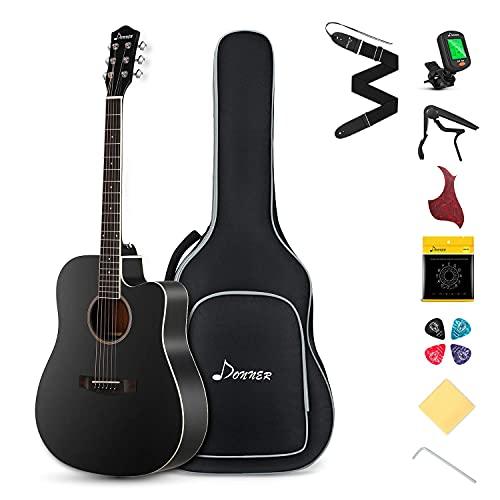 Donner Guitar Acoustic Full Size 4/4 Guitar Cutaway Beginner Adult Guitar 41 inch Kit with Gig Bag Tuner Strap Strings Capo Picks(Black)