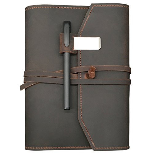 REFILLABLE Leather Journal Writing Notebook - Lay Flat Notebook, Handmade Leather Bound Diary for Men & Women, Perfect Gift for Travel Diary, Creative Writing & Art Sketchbook to Write in, Large 6x8