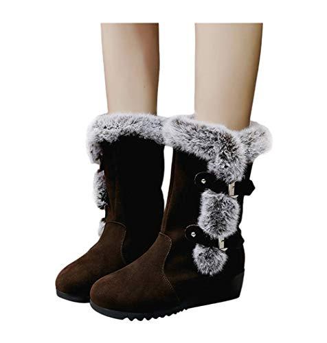 MYMYG Frauen Stiefeletten Freizeit Reißverschluss Plus Samt Voots Wedge Plattform Winter Warme Schneeschuhe Warme Plüsch Gefüttert Winterstiefel (Kaffee 3, 42)