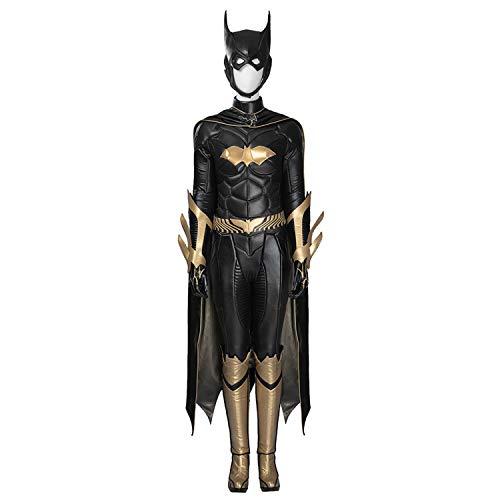 QWEASZER Batman Arkham Knight Batgirl Costume Donna Tuta per Adulti Tutine mantelli Guanti Scarpe Maschera Halloween Gioco di Film Cosplay Costume Fancy Dress Puntelli per Feste,Black-Custom Size