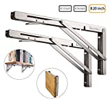 Folding Shelf Brackets Specially Made 2PCS, Heavy Duty Stainless Steel L-Shaped Bracket, DIY Shelves for Table Desk Bench Wall Mounted TV Bracket Max Load 400lb Space Saving (B 20 Inch)