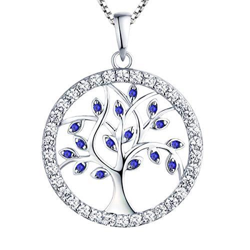 YL Collar Árbol de la Vida Plata de Ley 925 Colgante con Espinela Azul Collares para Mujer Madre Mamá Abuela