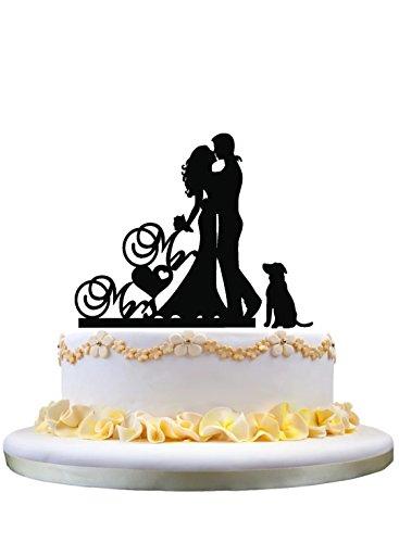 Unique Wedding Cake Topper - Mr & Mrs Cake Topper, Sweet Sposa e Sposo Baciare Silhouette con un cane Lovely Silhouette