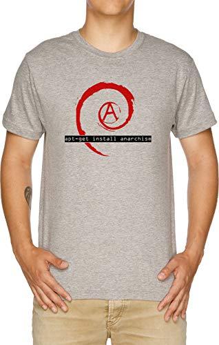 Vendax Apt-Get Install Anarchism Camiseta Hombre Gris