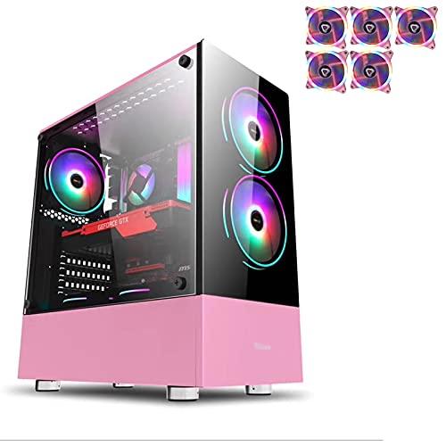 JF-TVQJ Caja Pc Gamer ATX Mid Tower Gaming PC Case con 5 Ventiladores LED Rosas De 120 Mm, Panel De Vidrio Templado, Puertos De Audio USB3.0 / USB2.0 Superiores Listos para Refrigeración por Agua