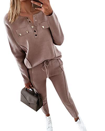 Conjunto de chándal para Mujer Sudadera con cordón de Manga Larga Tops + Pantalones Trajes Deportivos 2PCS Chándal Completo