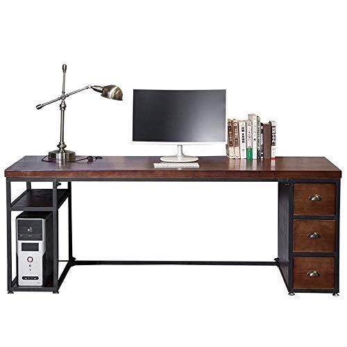 Zavddy Escritorio de computadora Retro Ordenador de Escritorio de Madera Maciza Nostálgico Desk Studio Computadora de Escritorio Escritorio con cajón Escritorio de Estudio Simple Moderno