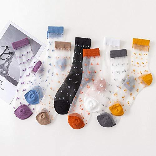 Calcetines de Barco de Encaje,Medias Transparentes de Color de Cristal de Lunares de Tubo Medio de Mujer Delgada Retro * 5-1_A