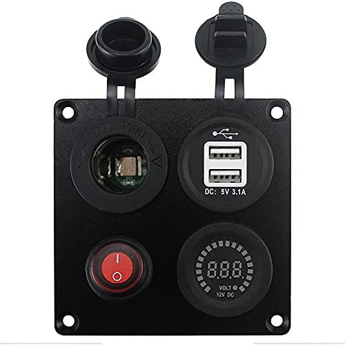 YINLONG DIY Dual USB Cargador 3.1A Voltímetro de Color Toma de Corriente Interruptor de Encendido de Apagado Cuatro Funciones Panel FIT para LA Barca DE Coche Marine RV Camión Camper Camper